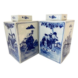 Square Blue & White Vases - a Pair For Sale