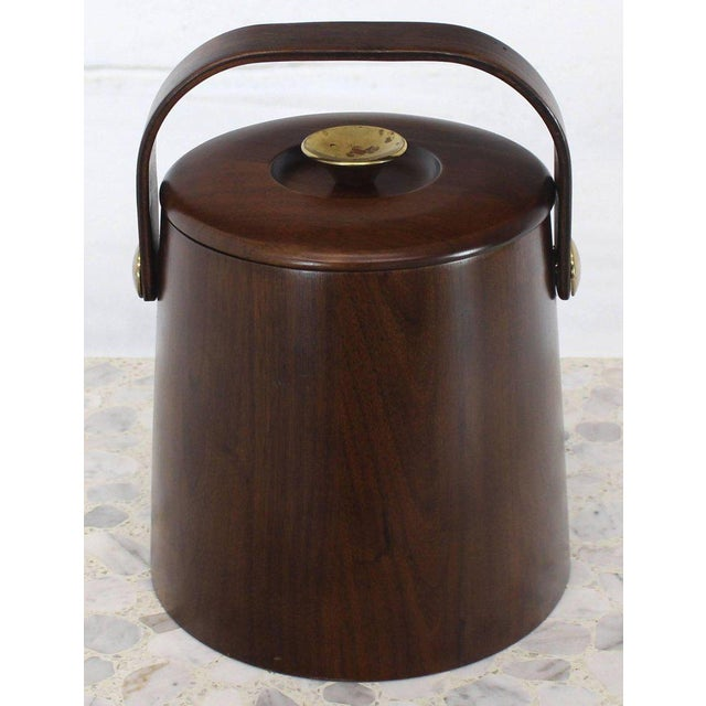 Gold American Walnut Danish Modern Style Ice Bucket with Lid For Sale - Image 8 of 8