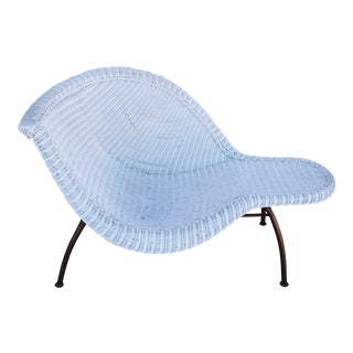 Vintage Modernistic Asymmetric Woven Wicker Chaise Lounge For Sale