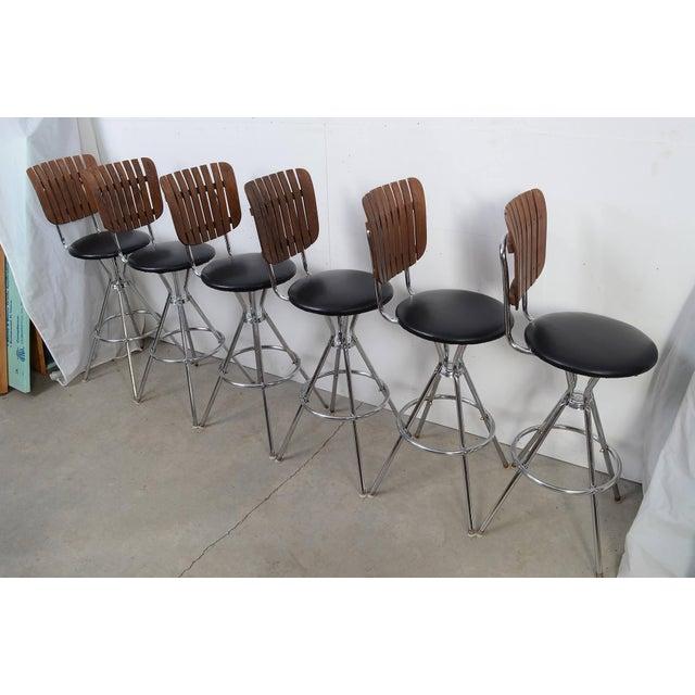 1960s Arthur Umanoff Style Black Leather Slat Back Bar Stools - Set of 6 For Sale - Image 5 of 9
