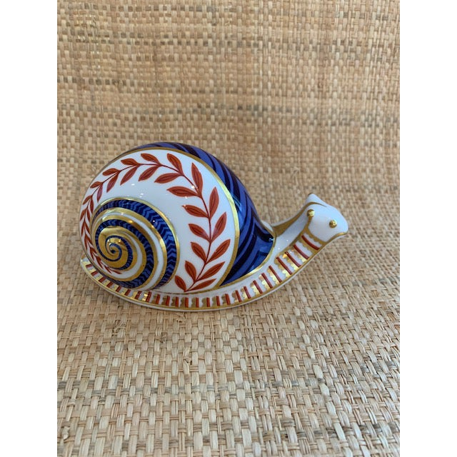 Beautiful English Bone China Snail Paperweight. Terracotta, Blue and Gold. Adorable! No chips