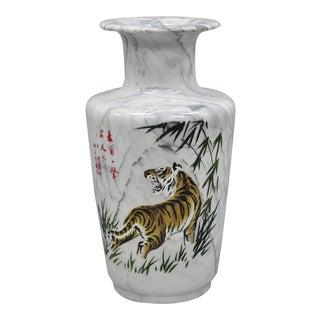 Carved & Painted Tiger Oriental Scene White Marble Vase Vessel For Sale