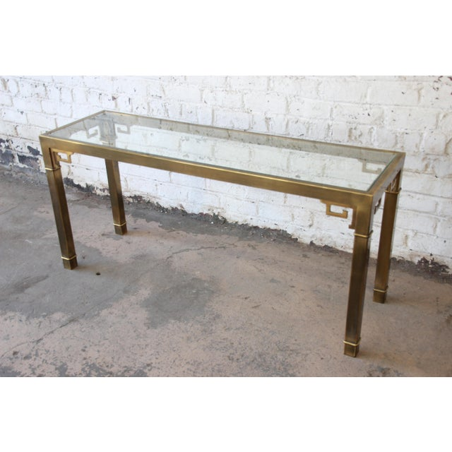 Mastercraft Hollywood Regency Brass and Glass Console Table with Greek Key Motif - Image 5 of 8