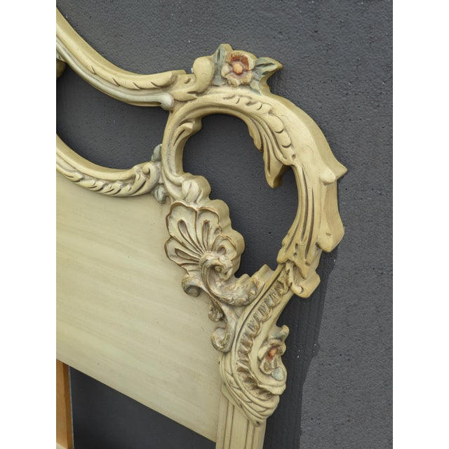 Vintage French Provincial Rococo Chic Shabby Ornate Off White King Headboard W Scrolls For Sale - Image 4 of 10