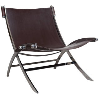 Lounge Chair by Paul Tuttle in Chrome and Leather For Sale
