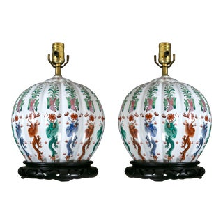 Chinese Round Table Lamps - a Pair For Sale