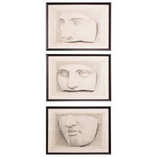 Framed Belgian Original Classical Sculpture Graphite Drawings - Set of 3 For Sale