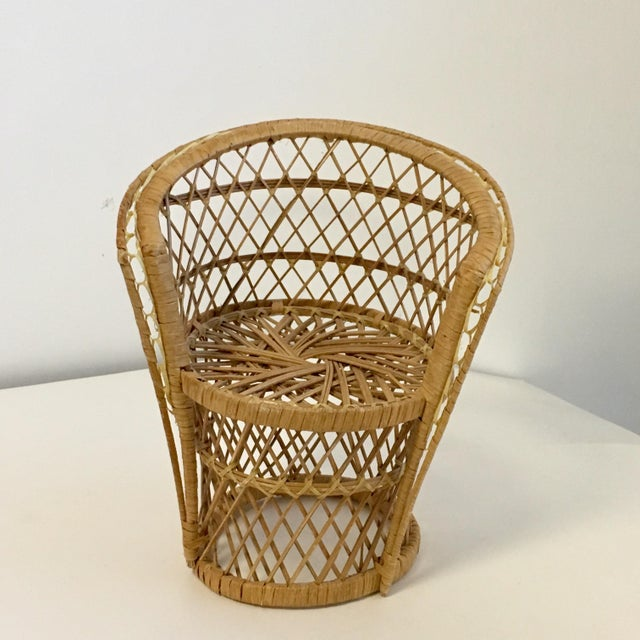 Vintage Boho Wicker Chair Plant Stands - A Pair For Sale - Image 5 of 7