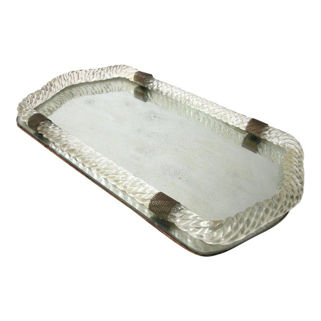 Antique Murano Twisted Glass Rope Vanity Tray For Sale