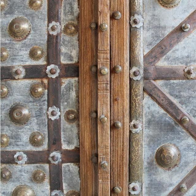 Anglo-Indian Rustic Antique Metal Work Indian Door For Sale - Image 3 of 3