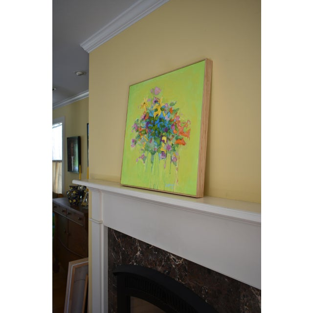 Green Stephen Remick Abstract Bouquet on Green Background Painting For Sale - Image 8 of 11
