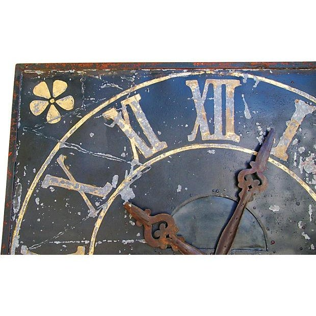 "Early 20th Century X-Large Stunning Antique French Iron & Gilt Tower Clock Face 79"" Square For Sale - Image 5 of 9"