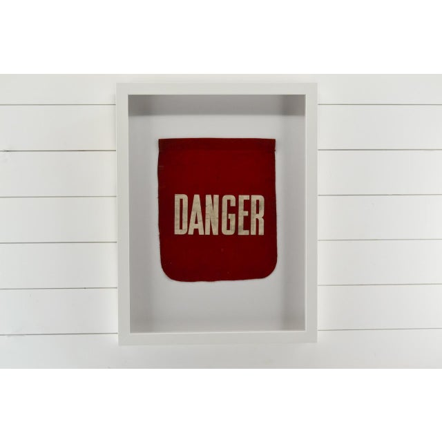 Mid-Century Modern Vintage Framed Danger Flag, Wall Art Decor For Sale - Image 3 of 4