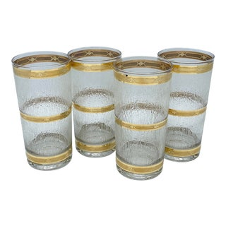 Mid Century 22k Gold Banded Textured Icicle Highball Glasses-Set of 4 For Sale