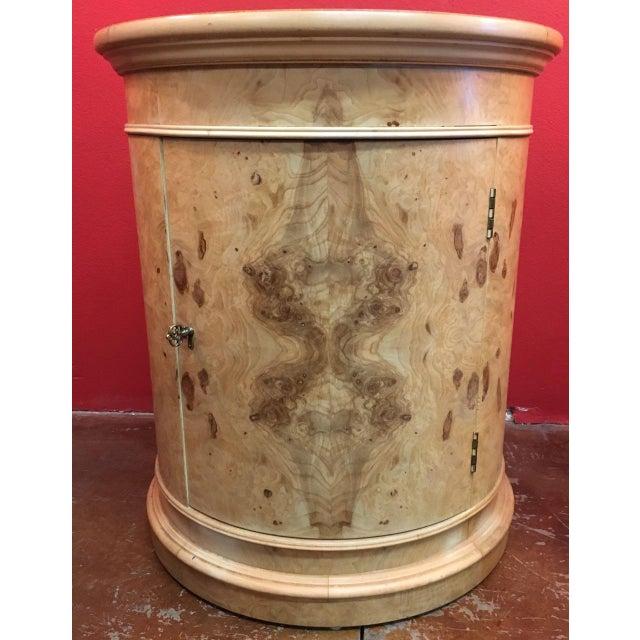 1980s Transitional Henredon Olive Burl Drum Table For Sale - Image 11 of 11