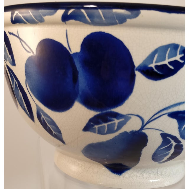 Vintage Italian Fruit Bowl Blue White Pottery Mixing Kitchen Italy Ceramic For Sale - Image 6 of 10