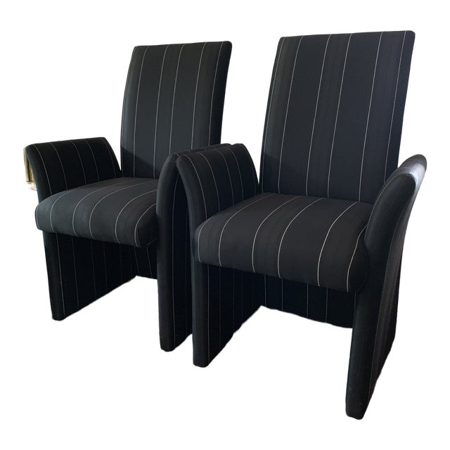 Astonishing Sculptural Tuxedo Upholstered Dining Chairs A Pair Bralicious Painted Fabric Chair Ideas Braliciousco