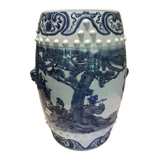 1970s Vintage Tall Chinese Porcelain Blue and White Garden Stool For Sale
