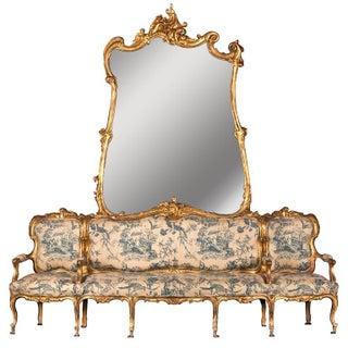 "19th Century German Sofa and Mirror or ""Canape De L'amitie"" in Louis XV Style"