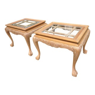 White Oak Chippendale Carved End Tables With Beveled Glass Tops - a Pair