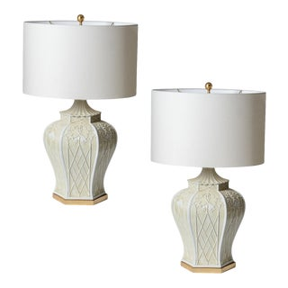 Hollywood Regency 1970s Chinoiserie Pagoda Ivory Ceramic Lamps, A-Pair For Sale