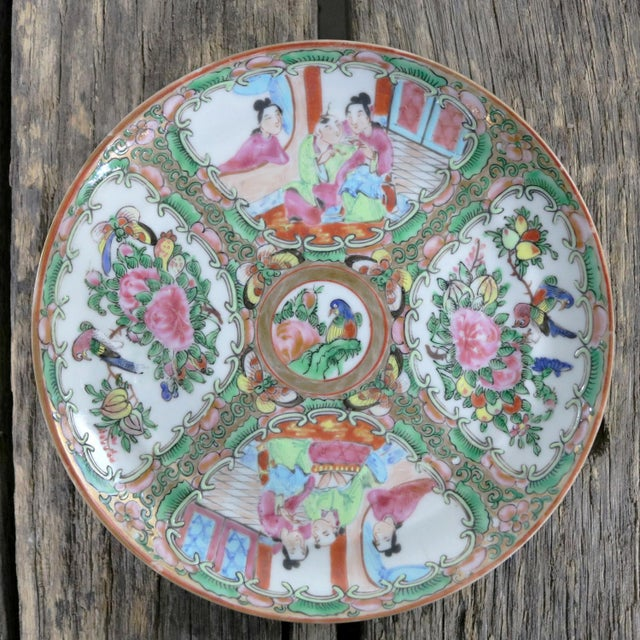 Pink Antique Chinese Qing Rose Medallion Porcelain 6-Inch Cupped Plates Set of 8 For Sale - Image 8 of 13