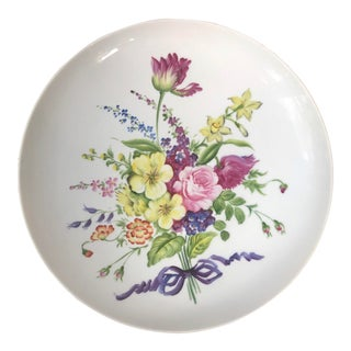 Vintage Bloomingdales Round Platter With Handprinted Floral Bouquet For Sale