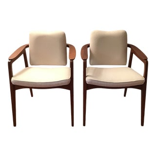 Vintage Mid Century Modern Sigvard Bernadotte Danish Modern Teak Arm Chairs - a Pair For Sale