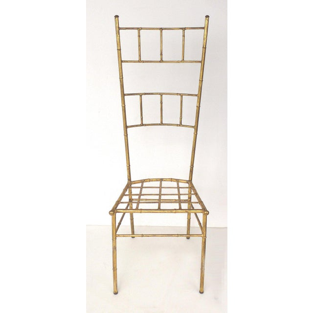 Gold 1970s Vintage Bagues Style Italian Gilt Iron High-Back Chairs- A Pair For Sale - Image 8 of 12