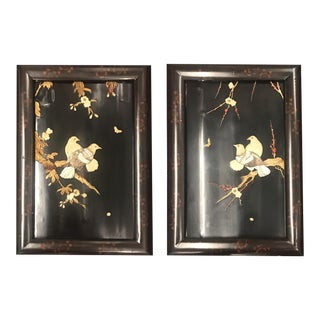 Mid-Century Chinese Lacquer Panels Embellished With Bone and Mother of Pearl Carvings - a Pair For Sale