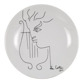 Jean Cocteau Promo-Ceram Midcentury Plates-Set of 2, Circa 1950-1980 For Sale