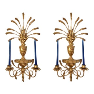 Gilded Italian Neoclassical Wall Sconces - A Pair
