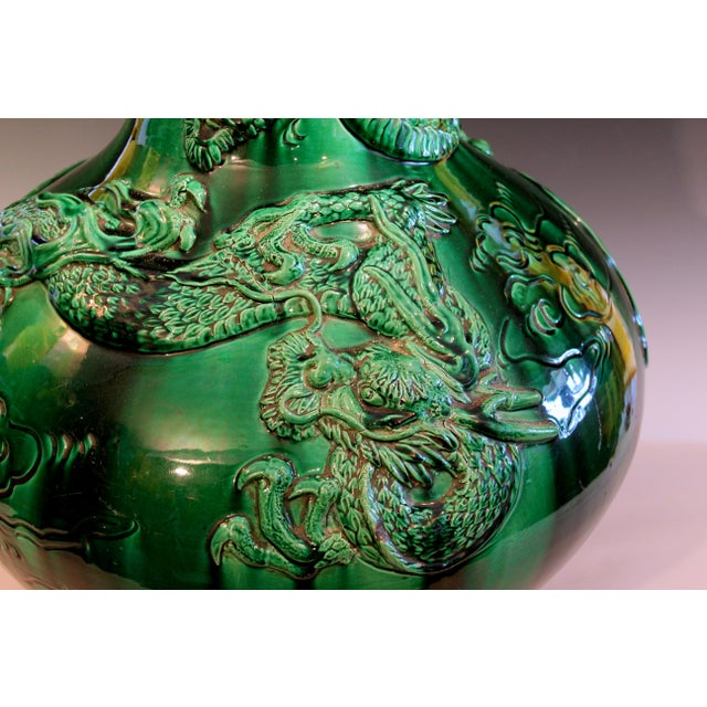 """Antique Japanese Awaji Pottery Green Dragon Vase 25"""" For Sale - Image 4 of 11"""