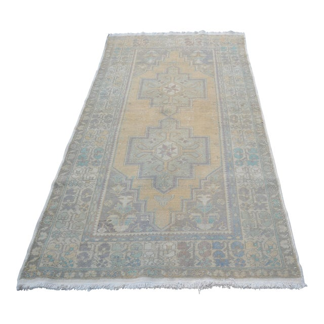 Turkish Oushak Handwoven Rug - 4′3″ × 8′2″ For Sale