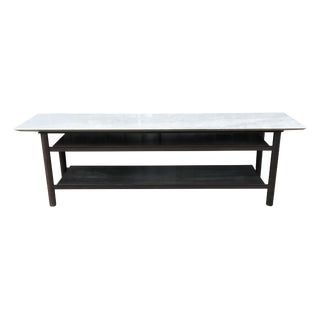 Custom-Made Steel & Marble Low Sofa Table For Sale