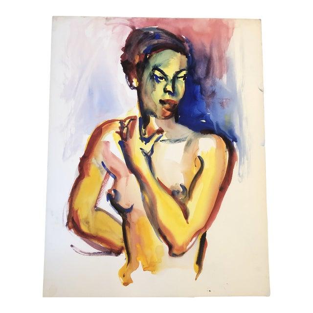 Original Vintage Female Nude Portrait Watercolor Painting 1970's For Sale