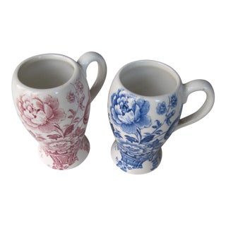 English Blue & White and Red & White Transferware Cups - Pair For Sale