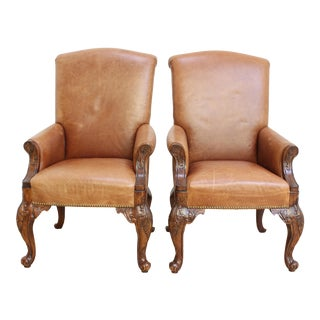 Leather Chippendale Chairs- Victorian Armchairs For Sale