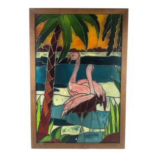 Tropical Flamingo Motif Stained Glass Art Work For Sale