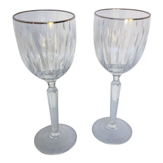 Cut Crystal Gold Rim Wine Glasses - a Pair For Sale