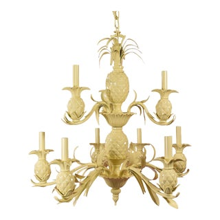 Vintage Yellow Lacquered Pineapple Chandelier For Sale