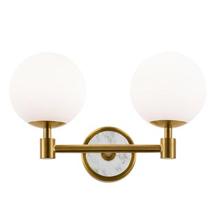 Lunar Brass Double Wall Light For Sale
