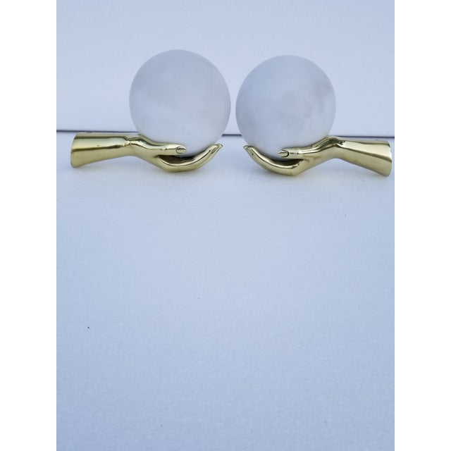 Mid-Century Modern Maison Arlus Hand Sconces - a Pair For Sale - Image 3 of 8