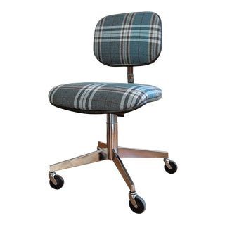 Vintage Steelcase Plaid Desk Chair For Sale
