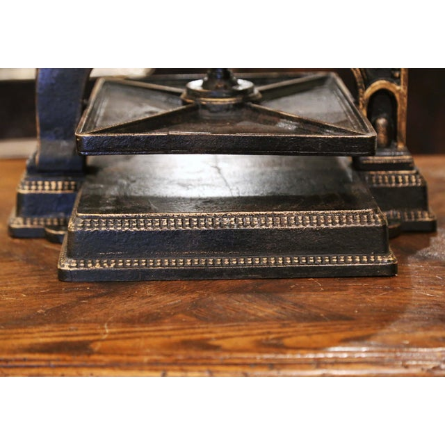 19th Century French Silver and Gilt Painted Wrought Iron Book Binding Press For Sale - Image 10 of 12