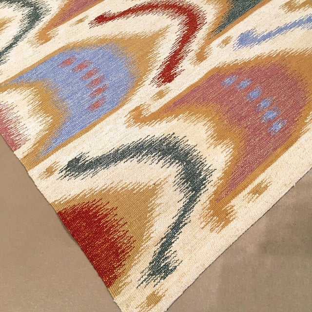 """Traditional Ikat Flatwoven Rug-9'11"""" X 13'7"""" For Sale - Image 3 of 6"""