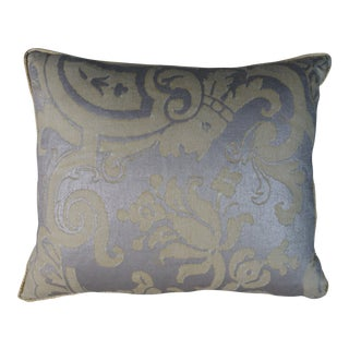 Avocado & Silvery Gold Fortuny Pillows - a Pair For Sale