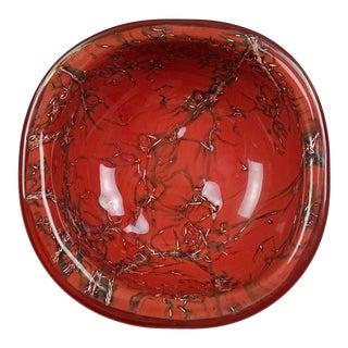 Venini Murano Toni Zuccheri Signed Italian Art Glass Coral Red Copper Bowl For Sale