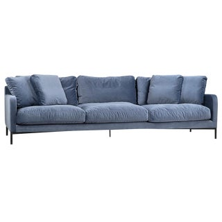 Blue Upholstered Sofa W/ Pillows For Sale