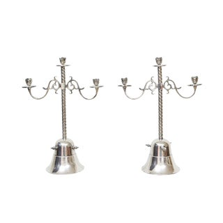 Silver Plate Candleholders - A Pair For Sale